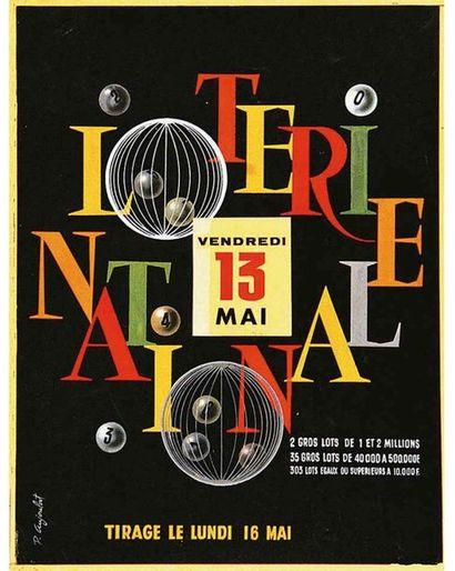 AUJOULAT P. Gouache signée / Vintage signed Gouache T.B.E. A -  40 x 31 cm