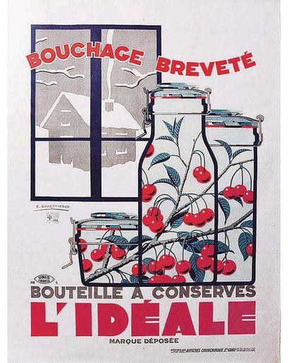 COURCHINOUX E. L. Grau Lille - Paris  1 Affiche Non-Entoilée / Vintage Poster not...