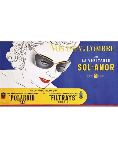 Polaroid Sol Amor Vos Yeux à l'ombre  Femme vers 1950