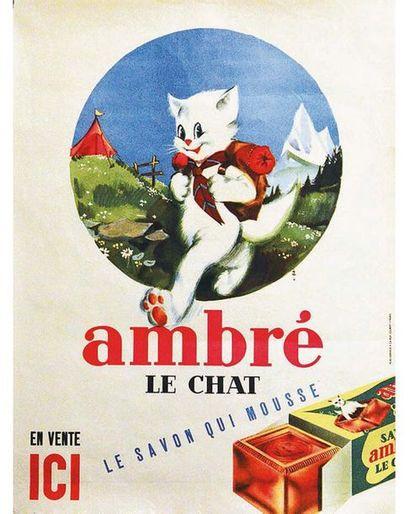 Ambré Le Chat Le Savon qui mousse vers 1950