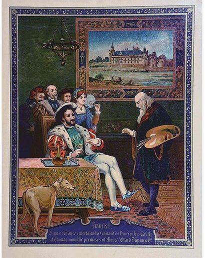 Otard Dupuy & Co François & Leonard de Vinci dans son Château de Cognac Apartenant à Otard Dupuy vers 1920 Très Rare / Very Fare