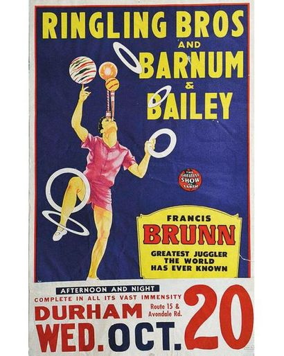 Francis Brunn Greatest Junggler The World Ever Known Ringling Bros and Barnum & Bailey Circus vers 1945