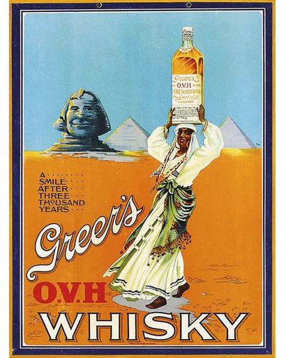 Old Scotch Whisky Glasgow  Greer's O.V.H. A Smile after 3000 Years Très Rare 1920 Glasgow (Ecosse)