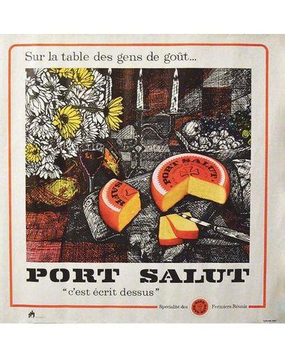 Port Salut c'est Ecrit dessus Spécialité des Fermier Réunis sur la Table des Gens de Goût vers 1960,