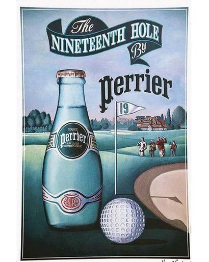 The 19th Hole by Perrier   affiche signée Vincent Gevin vers 1980