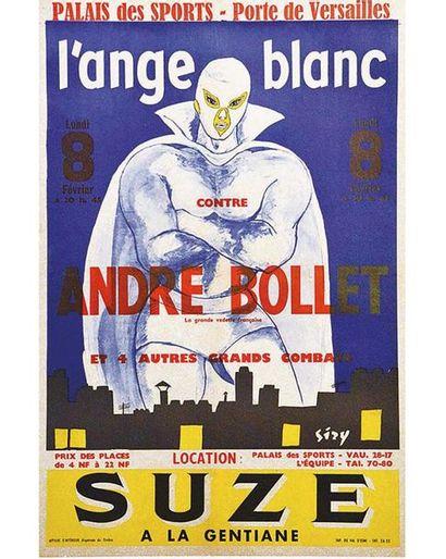 Catch L'Ange Blanc (Maxime Metzinger)contre André Bollet Palais des Sports Porte de Versailles vers 1960 Paris