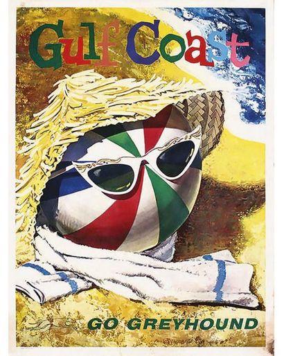 Gulf Coast Go Greyhound (Floride ) 1960 Rare et Superbe Affiche Typique des Années 60 et de l'American Way Of Life