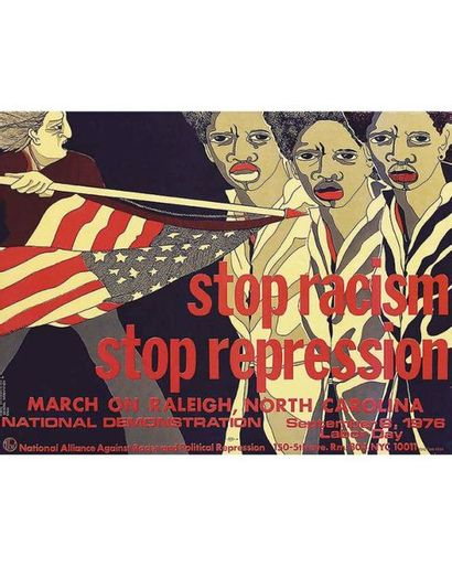 USA. Stop Racism, Stop Repression March On Raleigh North Carolina Nat Demonstration Sep 6 Labor Day 1976 National Alliance Against Racist & Political Repression 150 5th Av.  New York 10011