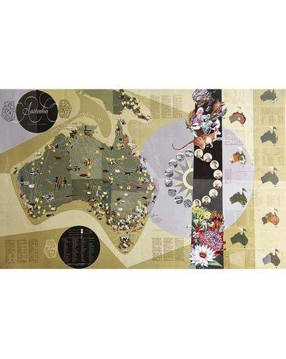 Australia très belle carte avec tous les cultures, populations, & Hommes Politiques 1959