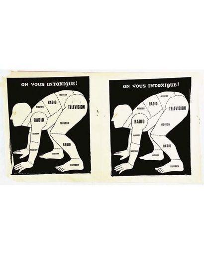 On vous intoxique !  2 Affiches sur une feuille Mai 68 très Rare 1969