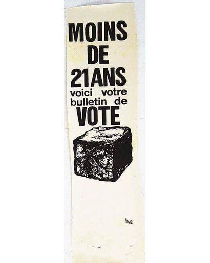 Moins de 21 ans voici votre bulletin de Vote ( Pavé) Noir  Mai 68 1968