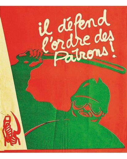 Il Défend L'Ordre des Patrons réféférence à l'affiche CRS SS par Ligue Communiste Révolutionaire 1973