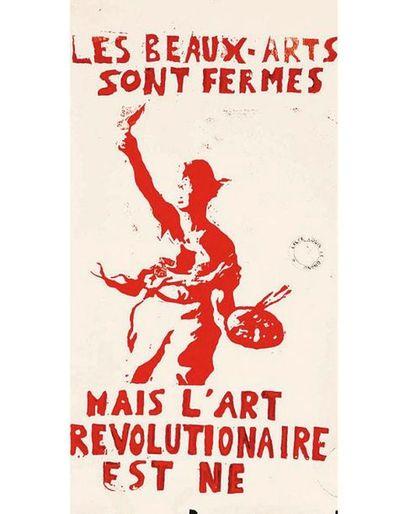 Les Beaux-Arts sont fermés mais l'Art Révolutionnaire est né MAI 68 Extrèmement rare en Rouge 1968