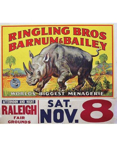 Rhinocéroce Ringling Bros and Barnum & Bailey Circus 1945 Litho in USA  1 Affiche...