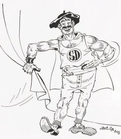 GOTLIB Super Dupont Encre de Chine pour ce beau portrait du héros. Signé et daté...