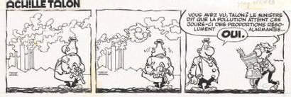 GREG Achille Talon Encre de Chine pour le strip 65 sur le thème de la pollution....