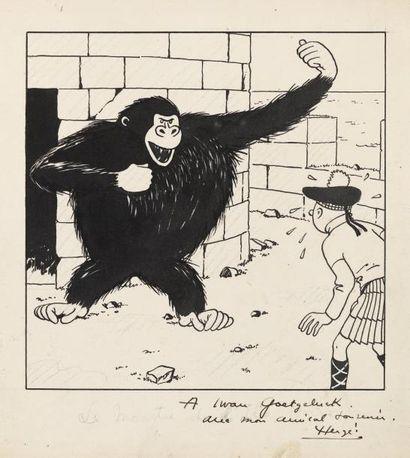 HERGE Tintin - L'île Noire Encre de Chine et gouache blanche pour la couverture du...