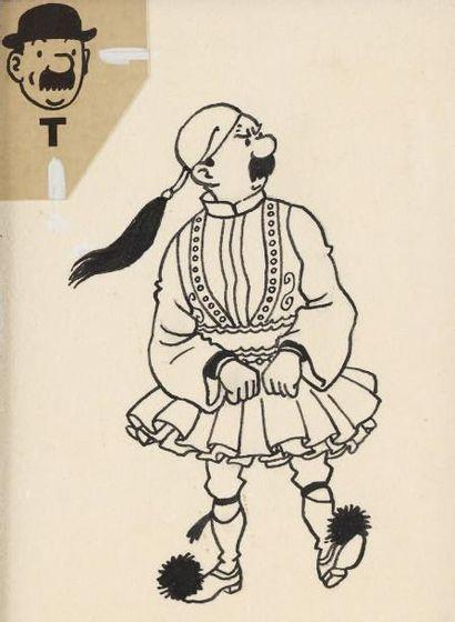 HERGE (STUDIOS) Dupond prisonnier Encre de Chine pour cette illustration extraite...