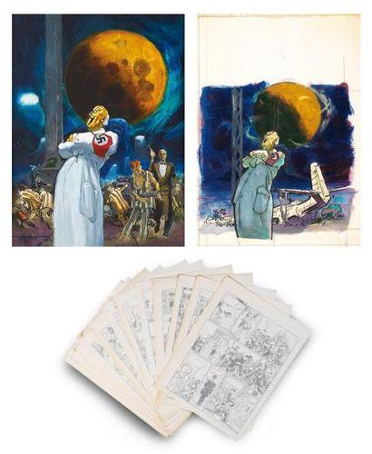 PARRAS Ensemble de 46 planches pour l'album La Dernière Lune - L'Aube des ténèbres»...