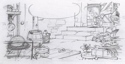 PEYO (STUDIOS) Johan et Pirlouit Joli crayonné préparatoire sur claque pour une case...