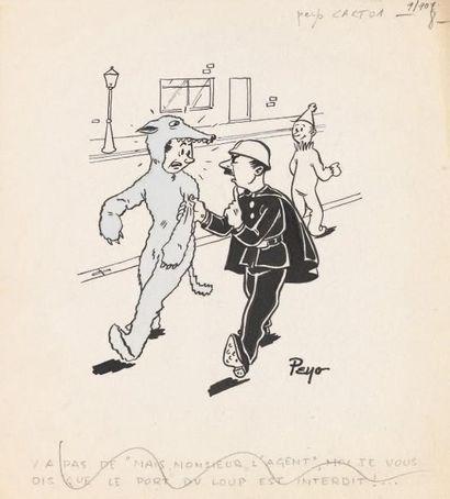 PEYO Le loup Encre de Chine et aquarelle bleue pour ce rare dessin humoristique des...