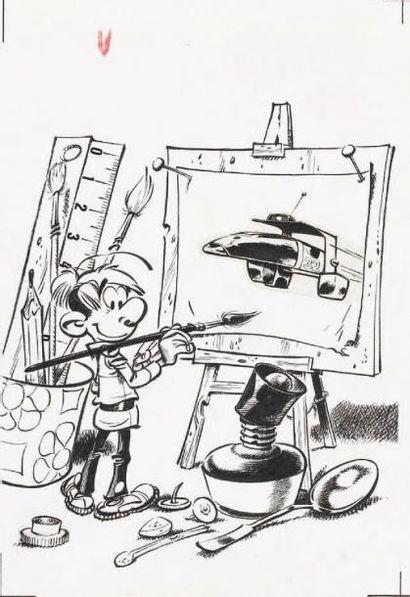 SERON Les Petits Hommes Encre de Chine pour ce dessin utilisé comme carte publicitaire...