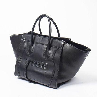 """CÉLINE Cabas """"Phantom"""" MM - """"Phantom"""" MM tote Black smooth leather  Black lucite..."""