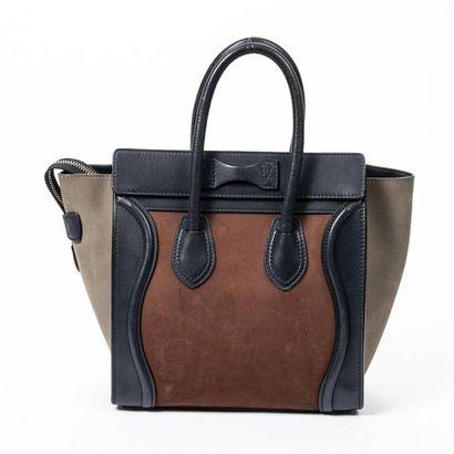 "CÉLINE Cabas ""Luggage"" mini - ""Luggage"" mini tote Navy leather, taupe and cinnamon..."