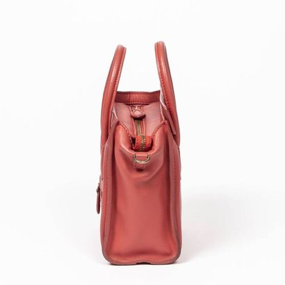 """CÉLINE Cabas """"Luggage"""" nano - """"Luggage"""" nano tote Coral red smooth leather  Gold..."""