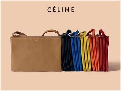 "CÉLINE Sac ""Trio"" - ""Trio"" bag Red smooth leather  Gold-plated metal trim  25 x 16..."