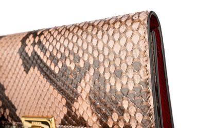 "GUCCI Pochette ""Padlock"" - ""Padlock"" clutch Shiny Python, red leather  Gold metal..."