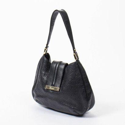 "GUCCI Sac ""Web Hobo"" PM - ""Web Hobo"" PM bag Black ""Guccissima"" aged leather  Gold..."