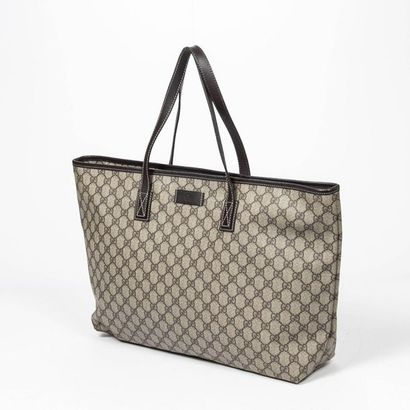 """GUCCI Cabas - Tote Guccissima"""" cement coated canvas, chocolate leather  Gold metal..."""