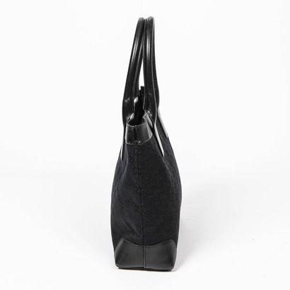 """GUCCI Cabas - Tote Toile """"Guccissima"""" et cuir noir  Garnitures métal argenté  30..."""