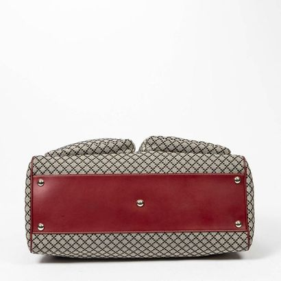 """GUCCI Sac de voyage - Travel bag Cement and black """"Diamante"""" canvas, red leather..."""