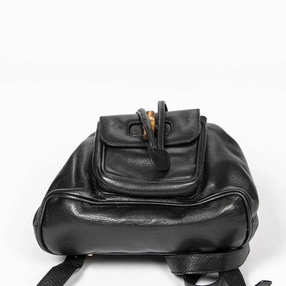 """GUCCI Sac à dos """"Bamboo"""" PM - """"Bamboo"""" PM backpack Black leather, bamboo  Gold-plated..."""