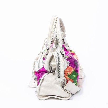 "BALENCIAGA Sac ""Flower Giant City"" - "" Flower Giant City"" bag Ivory leather, flower..."