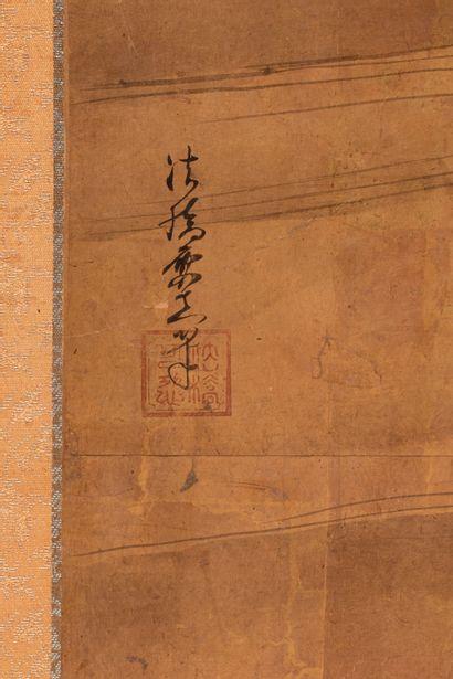 *JAPON, Fin XVIIIe siècle Paravent à quatre feuilles à décor de des canards sur fond...