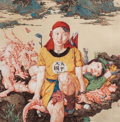 WEI DONG (魏東, né en 1968) Pet, 2001 Encre et couleur sur papier  Signé et cachets...