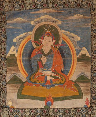 Tibet, XIXe siècle Tangka à la détrempe sur coton Représentant le moine Padmasambhava...
