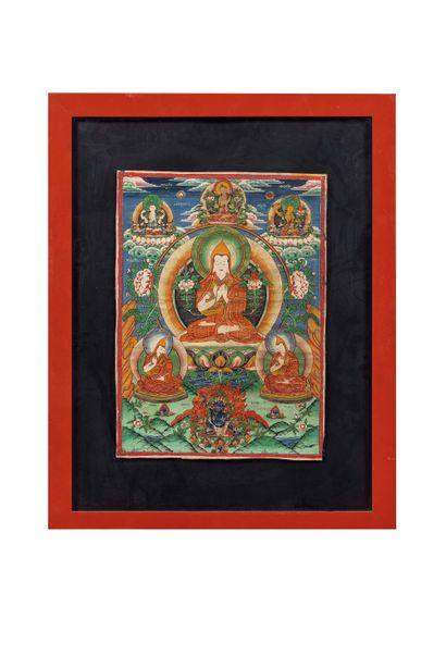 Tibet, XIXe siècle Tangka à la détrempe sur coton Représentant le lama Tsongkhapa...