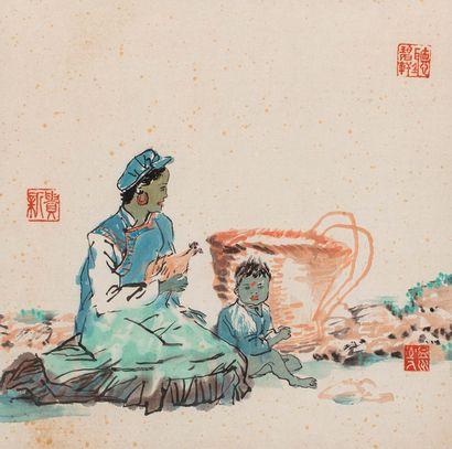 CHEN XIN GUI (陳新貴, XXIe siècle) Femme et son enfant Encre sur papier  Cachet au milieu...