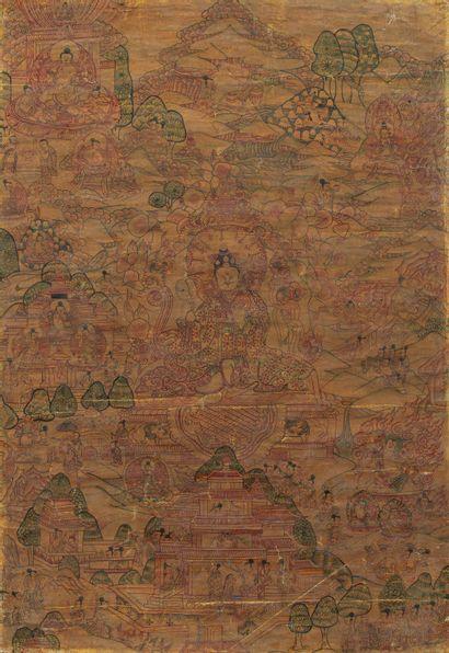 TIBET, XXe siècle Tangka à la détrempe sur coton Représentant un lama en partie centrale....
