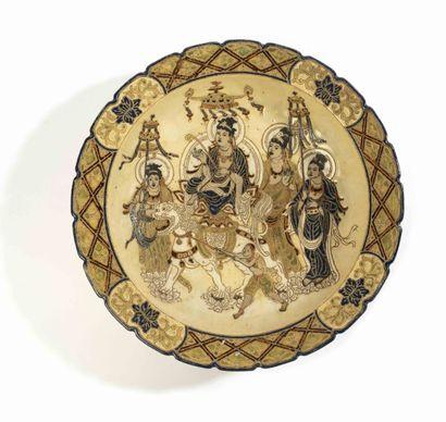 VIETNAM, Ecole de Bien Hoa, XXe siècle Large ceramic dish  representing deities  Bien...