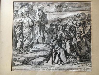 GRAVURE représentant Moïse montrant les Tables...