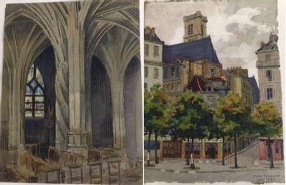 Marc CHOISNARD (1879-1966) Interieur de Saint...