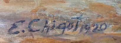 Eugène CHIGOT (Valenciennes 1860- Paris 1923) Paysage Huile sur toile d'origine...