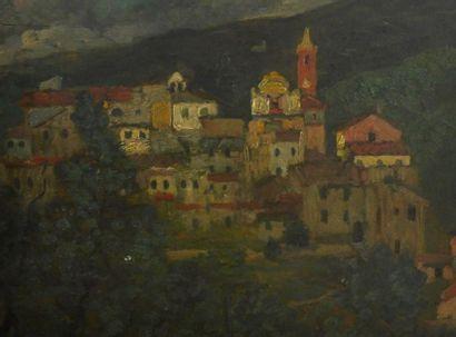Eugène CHIGOT (1860-1923 Vue de village de...