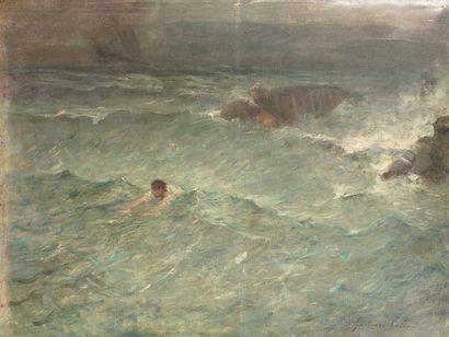 Gustave Henri COLIN (Arras 1828 - Paris 1910) Le naufragé Huile sur toile d'origine...
