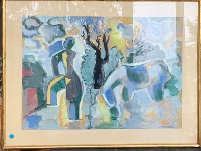 Gio COLUCCI (1892-1974) Personnage et cheval...